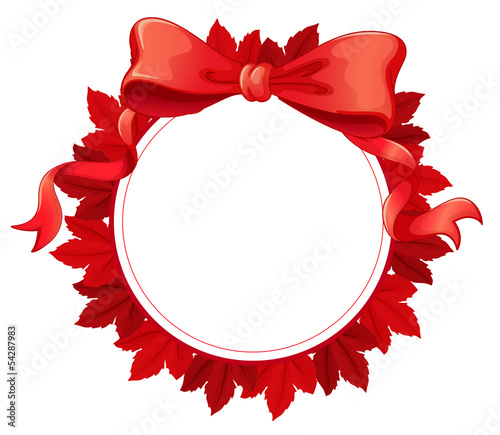 A round template with a red ribbon