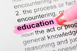 Education highlighted in dictionary
