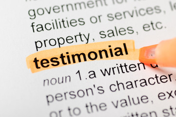 Testimonial highlighted in dictionary