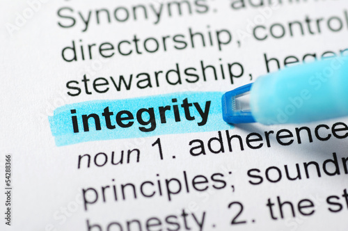 Integrity highlighted in dictionary