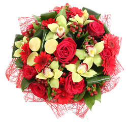 Floral compositions of red roses, red gerberas and orchids.
