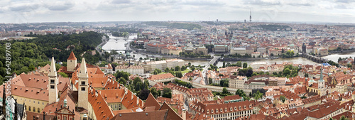 Panorama of historical center of Prague (aerial).