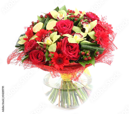 Floral composition in glass, transparent vase: red roses, orchid