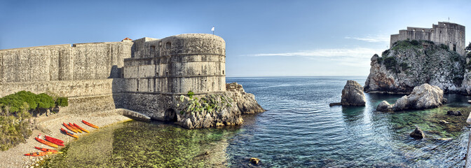 Scenic view on harbor fortification - Dubrovnik, Croatia