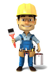 3d render handyman with paint can and paint brush