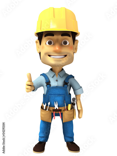 3d handyman with thumb up