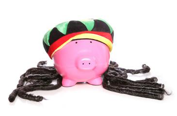 Raggae rasta jamaican piggy bank