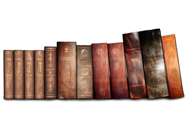 Antique books on the white background