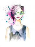 Watercolor Portrait of Hipster Girl
