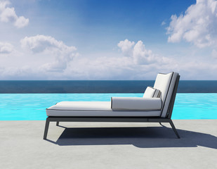 Summer lounge, outdoor deck chair by the swimming pool