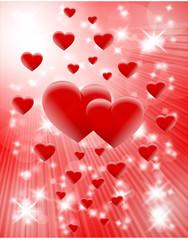 czerwone tło i serca