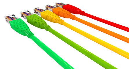Ethernet Cables Unplugged Colors Pointing Away Close