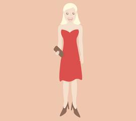 Beautiful blonde woman in red dress
