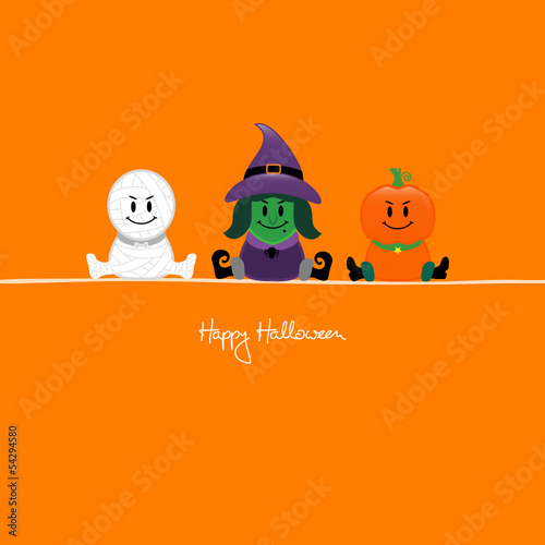 Halloween Mummy, Witch & Pumpkin Orange