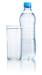 Plastic bottle and glass of drinking water isolated on white bac