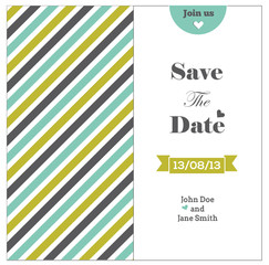 Wedding invitation with colored stripes, romantic template