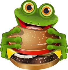 frog with cheeseburger