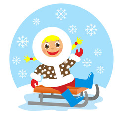 girl on sledge in winter