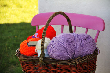 wool balls in a basket in Ireland