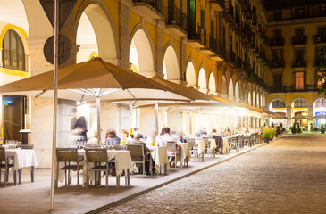 Nightlife in old  european city.  Girona