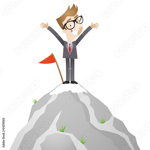 Businessman, mountain top, career, successful, smiling