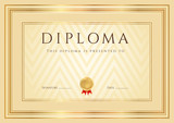 Certificate / Diploma template, background. Golden frame