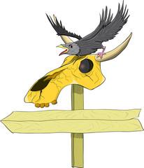 Ворон сидит на черепе с рогами