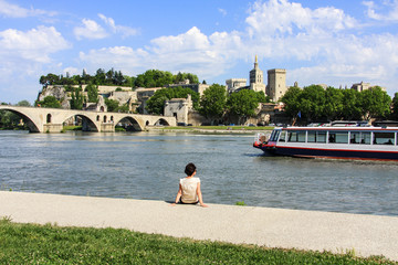 Avignon, Cityscape with river Rhone