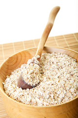Closeup of Wood Bowl with Oats