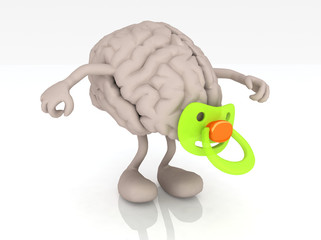 human brain with arms legs and pacifier