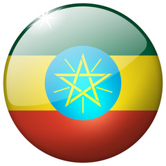 Ethiopia Round Glass realistic Button isolated on white