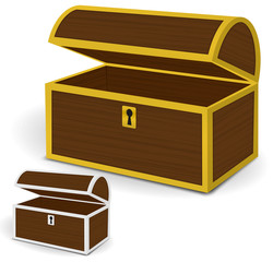 Chest 3d vector, Empty wooden chest with gold and silver metal
