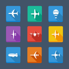 Vector collection airplane and gray silhouettes. Set icons
