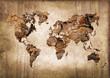 Leinwanddruck Bild - Carte du monde bois, texture vintage