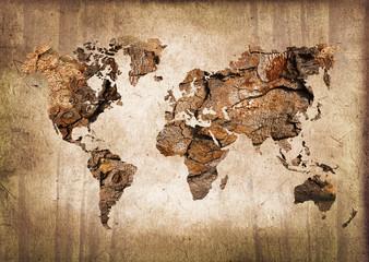 Carte du monde bois, texture vintage