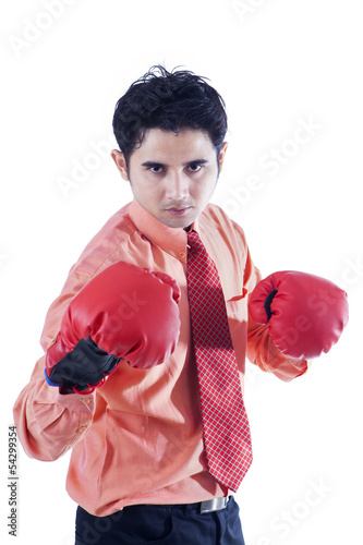 Businessman and boxing gloves on white