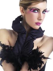 Beauty con ciglia finte viola