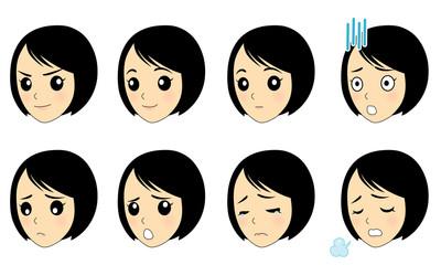 女性 表情いろいろC