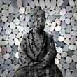 Bouddha de face, fond galets