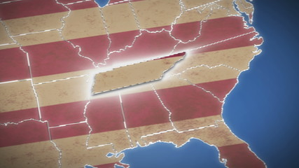 USA map, Tennessee pull out, all states available