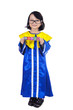 Cute girl graduate hold LEARN cube - isolated