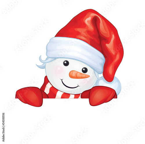 Vector of fun snowman hiding by blank isolated.