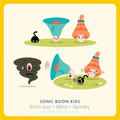Mix of cute megaphone-speaker-bell cartoon character