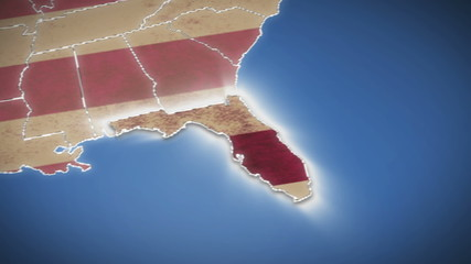 USA map, Florida pull out, all states available