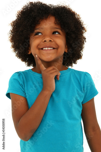 Adorable Black Girl Child Thinking Gesture and Smiling Over Whit