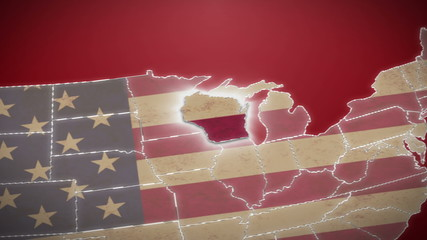 USA map, Wisconsin pull out, all states available. Red