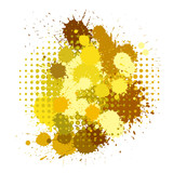 Set of ink blots and halftones patterns in yellow colors