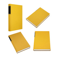 Yellow book in four different angles