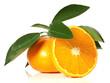 Mandarine mit Blätter