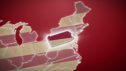 USA map, Pennsylvania pull out, all states available. Red